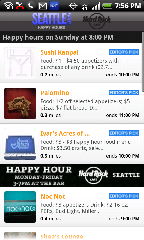 The zero-click experience in the Happy Hours app.