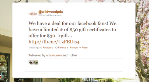 Wildwood in Portland is trying a do-it-yourself Groupon with its Twitter and Facebook followers.