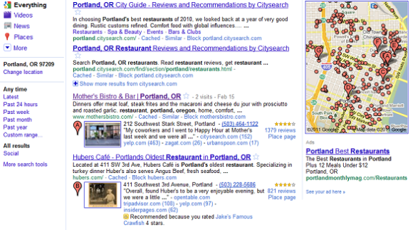Hotpot recommendations in Google search results.