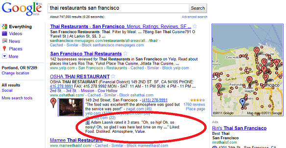 Google Hotpot shows reviews from friends.