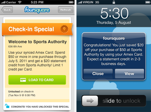 Screenshots from foursquare's AMEX integration